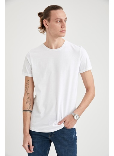 DeFacto Bisiklet Yaka Pamuklu Basic Tişört Beyaz